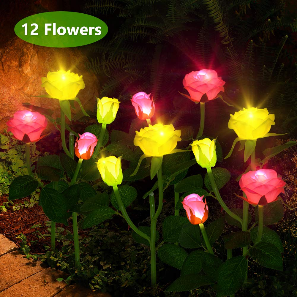 Flower Solar Lights Outdoor - CCJK 6 Pack Solar Garden Lights with 12 Rose Flowers,Decorative LED Stake Lights Solar Powered for Patio,Yard Decoration(Yellow and Pink)