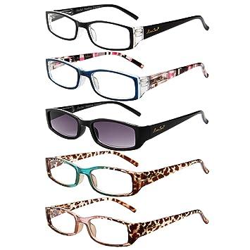 0214232613 LianSan Rectangle Sun Readers Eyeglasses 1.0 1.25 1.5 1.75 2.0 2.25 2.5  2.75 3.0 3.5 4.0 Womens Ladies Sunglasses Reading Glasses L3200 5-Pack  +1.0  ...