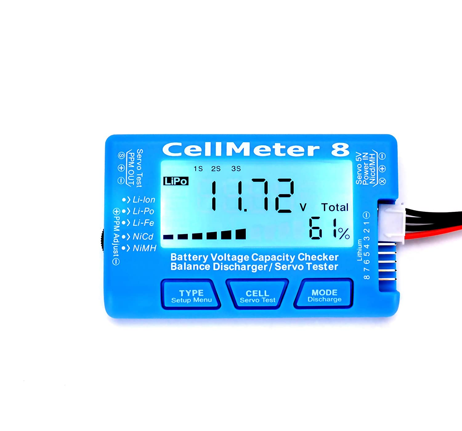Rc Cellmeter 8 Digital Battery Capacity Checker Balance Lipo Balancer Circuit Discharger Servo Tester Lcd Backlight For Life Li Ion Nimh Nicd Toys Games