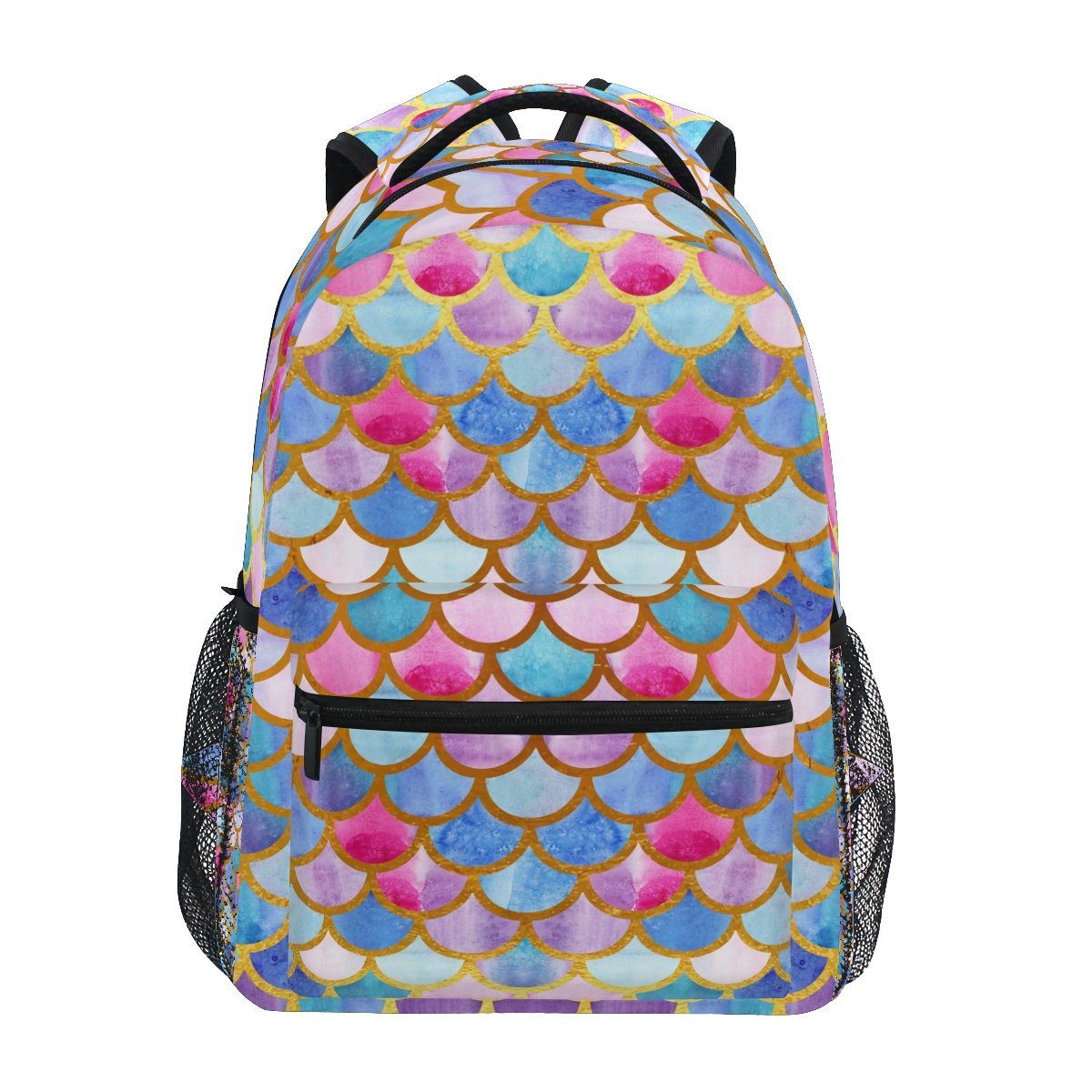 ZZKKO Colorful Mermaid Scale Boys Girls School Computer Backpacks Book Bag Travel Hiking Camping Daypack by ZZKKO