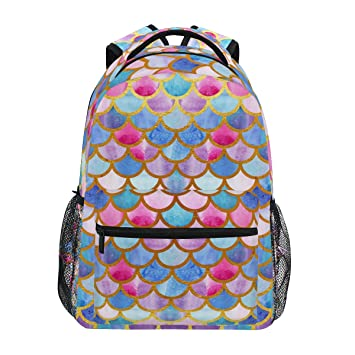 Amazon.com: ZZKKO Colorful Mermaid Scale Backpacks College School ...
