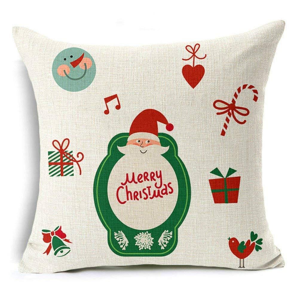 Set of 2 SMYLLS Christmas Deer Christmas Tree Merry Christmas Decorative Soft Throw Pillow Case Christmas Series Cushion Cotton Pillow Covers 18x 18 Linen Blend Santa Claus Christmas Pillow Covers
