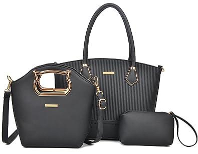Amazon.com  Women Handbag Purse Hobo Faux Leather Messenger Bag Clutch  Satchel Bag 3 Piece Gift Set (Black-3)  Shoes a1c670d2f4616