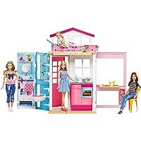 Barbie DVV48 - 2 Etagen Stadthaus, Portables Puppenhaus mit Puppenzubehör, Geschenk und Spielzeug für Mädchen ab 3 Jahren