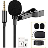 Soonpho Professional Lavalier Lapel Microphone,3.5mm Omnidirectional Condenser Mic Easy Clip On Microphone with Windscreen fo