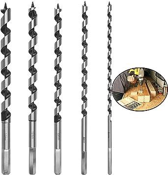 Wohlstand Broca Hexagonal,brocas de acero de carbono endurecido,Broca de Madera de 230 mm Conjunto de Brocas de Madera Espiral de Acero al Carbono,6 mm //8 mm //10 mm //12 mm //14 mm de Di/ámetro