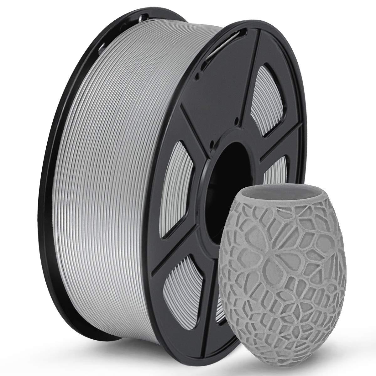 SUNLU PLA 3D Printer Filament, PLA Filament 1.75mm Dimensional Accuracy +/- 0.02 mm, 1 KG Spool, PLA Gray