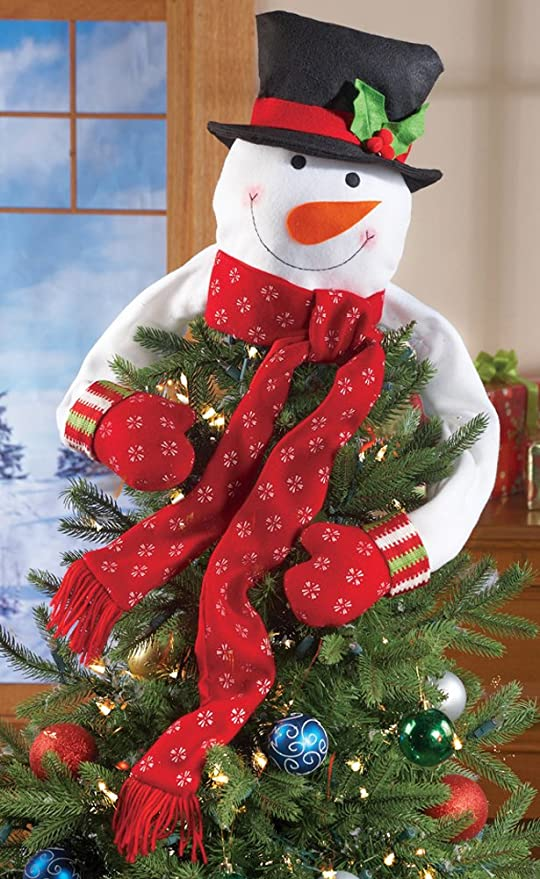Christmas Tree Toys Decoration.Amazon Com Snowman Christmas Tree Hugger Topper Top Of The