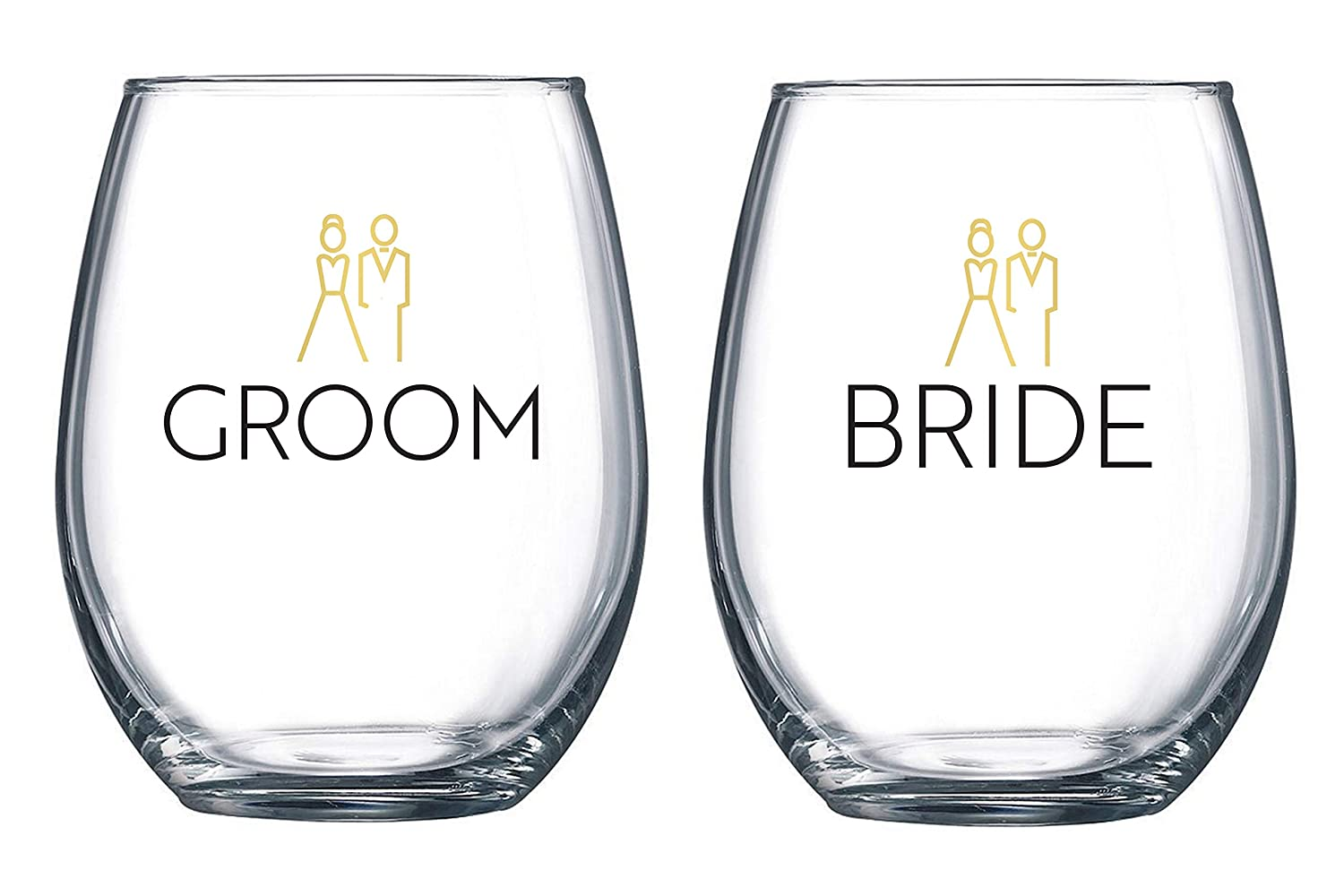 Bride and Groom Stemless Wine Glass Set - 20 oz each - Wedding Shower Gift | Just Engaged | Engagement | Anniversary