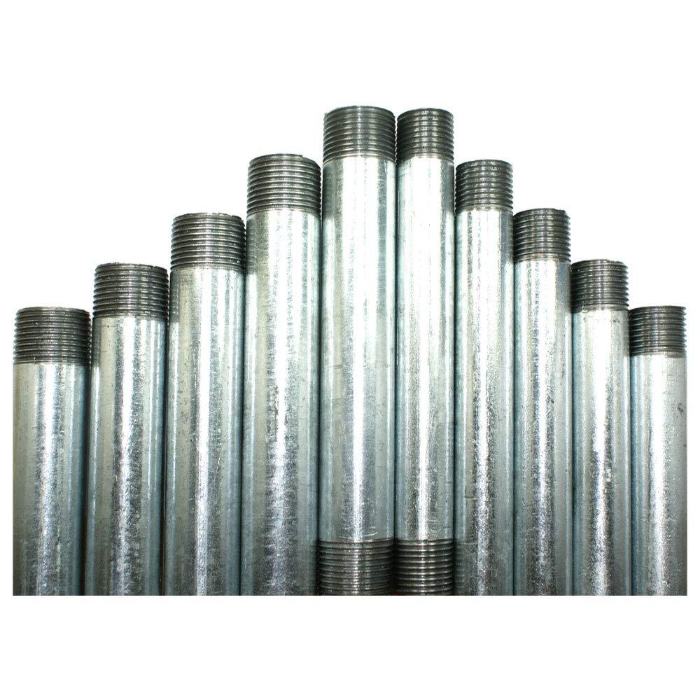 Steel Conduit Tube - Pre Cut and Threaded Short Lengths | 20mm and 25mm Diameter Tube (20mm Diameter Galv. Conduit, 100mm (130mm Total Length)) METPRO/DETA