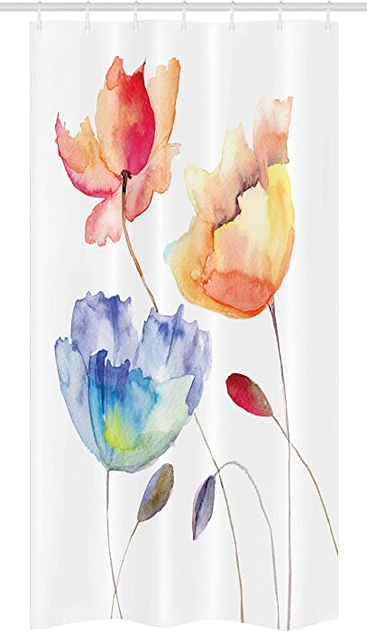 "Ambesonne Watercolor Flower Stall Shower Curtain, Summer Flowers in Retro Style Painting Effect Nature is Art, Fabric Bathroom Decor Set with Hooks, 36"" X 72"", Pink Yellow"