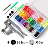 460 Sets T5 Fasteners Snap Button + Snap Plier Kit Sewing Tools for All Kinds Clothes (24 Colors, Plier for T3, T5, T8)