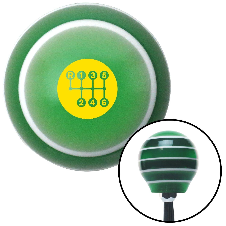 American Shifter 275537 Shift Knob Yellow 6 Speed Shift Pattern - Dots 20 Green Stripe with M16 x 1.5 Insert
