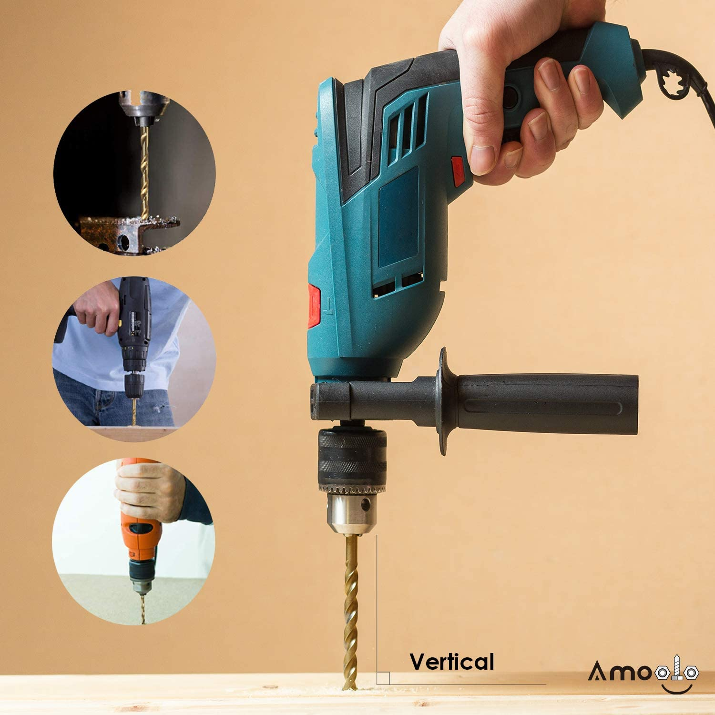 Steel amoolo 1//8 Hex Shank Drill Bits Plastic 10Pcs Metal Premium 4341 HSS Titanium Impact Hex Drill Bits for Wood Quick Change Design