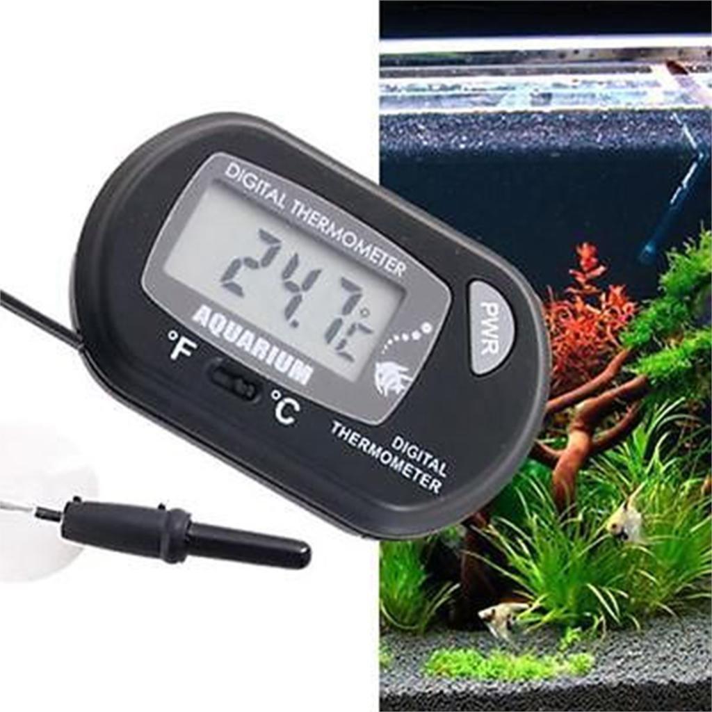 Topsame Black Digital LCD Fish Aquarium Reptile Terrarium Marine Vivarium Fish Tank Aquarium Thermometer with Suction Cup Wholesale