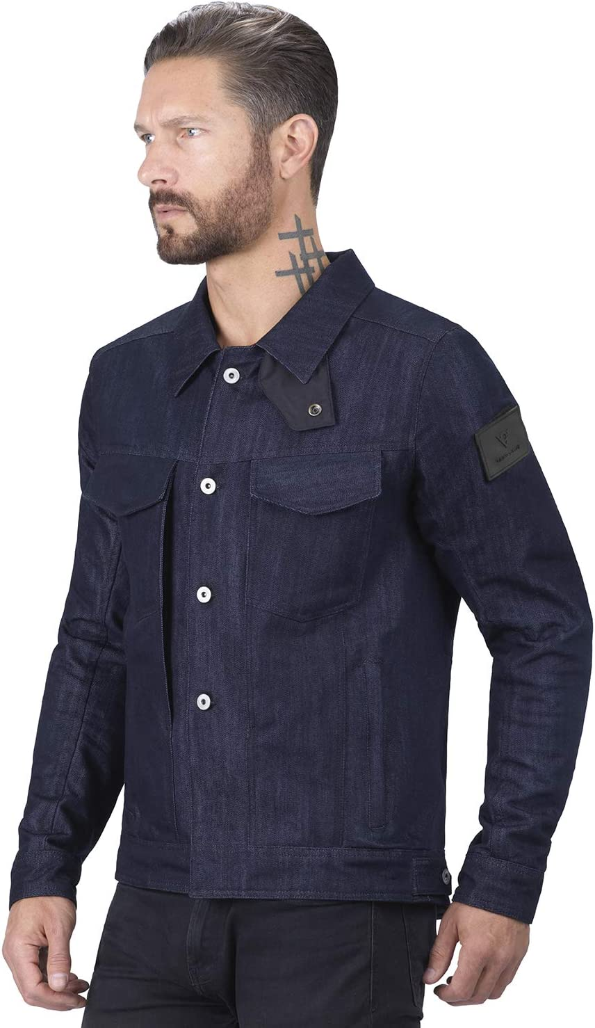 Viking Cycle Blue Denim Motorcycle Riding Over Shirt for Men Large