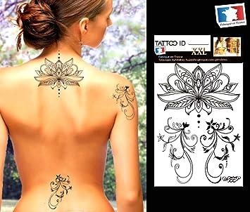 Tatouage Ephemere Temporaire Femme Lotus Fleur Tattoo Id Xxl Hypoallergenique Fabrique En France 1 Planche 22cm X 14 5cm Homme Femme Amazon Fr Beaute Et Parfum