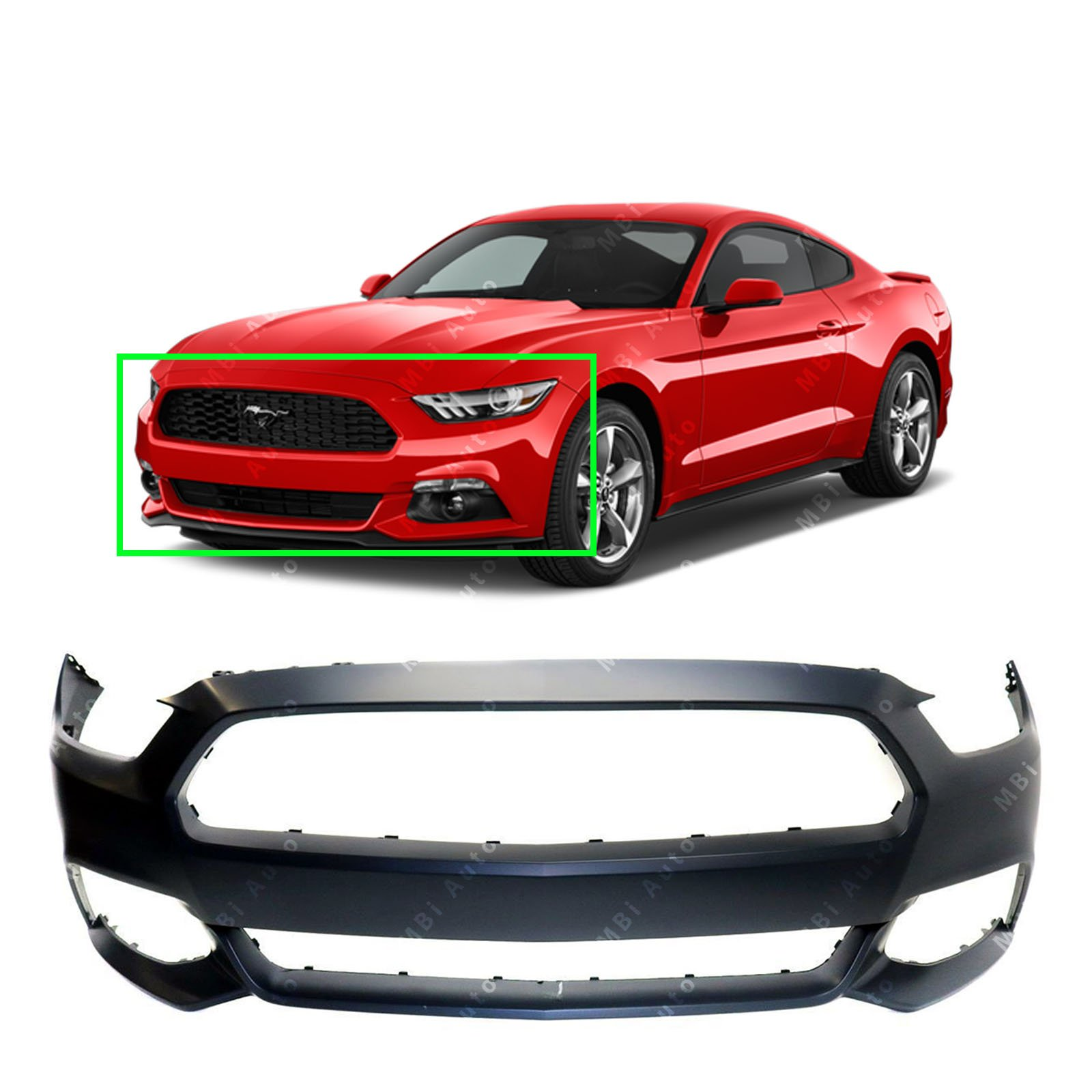 MBI AUTO - Primered, Front Bumper Cover Fascia for 2015 2016 2017 Ford Mustang W/Out Tow Holes 15 16 17, FO1000704