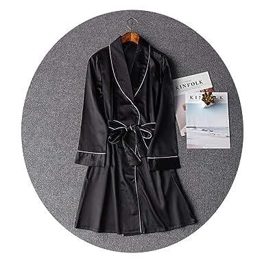 Women Silk Dresses for Women Pijamas Batas De Seda Bathrobe Kimono Rob,Black,S