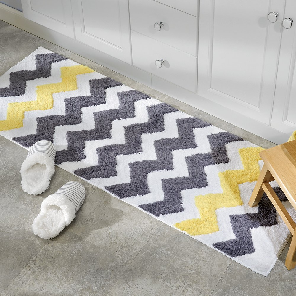 InterDesign Chevron Non Slip Bathroom And Shower Mat With Zig Zag Pattern,  Made Of Microfibre Polyester, Grey/Yellow, 86.4 X 53.3 Cm: Amazon.co.uk:  Kitchen ...