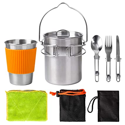 Acampar kit de utensilios de cocina,Portátil 304 Acero ...