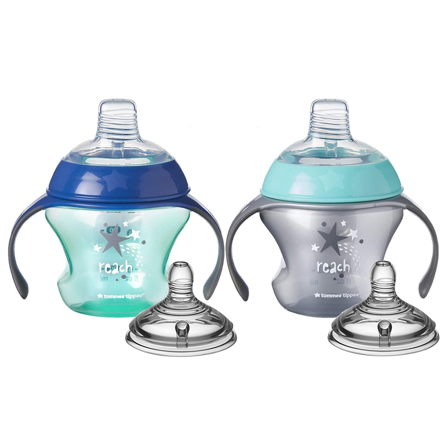 Tommee Tippee Closer to Nature First Sips Transition Cup, BPA-Free, 4+ Months,, Without Valve, Boy