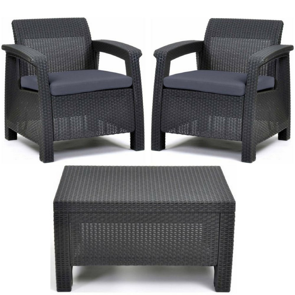 Keter corfu all weather resin outdoor furniture patio chill out conversation set 2 comfortable armchairs charcoal gray rattan with cushions and matching