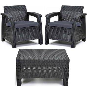 Amazoncom Keter Corfu All Weather Resin Outdoor Furniture Patio - Resin outdoor furniture