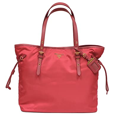 ebd02f514fb097 Amazon.com: Prada Tessuto Saffian Pink Nylon Leather Shopping Tote Shoulder  Bag Large BR4997: Shoes