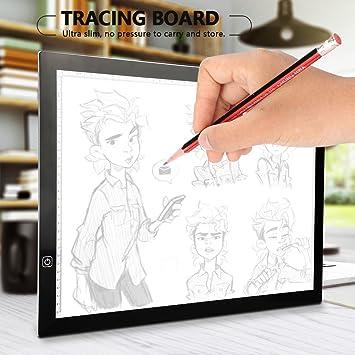 Zerone LED Luz Pad , A3 LED Bombilla Mesa Ultrafino luz Buzón Touch Control de Regula sin Niveles con Cable de alimentación USB portátil Bombilla ...