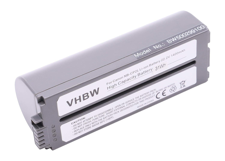 vhbw Li-Ion batería 1400mAh (22.2V) para Impresora copiadora Impresora de Etiquetas Canon Selphy CP-100, CP-1000, CP-1200, CP-1300, CP-200, CP-220