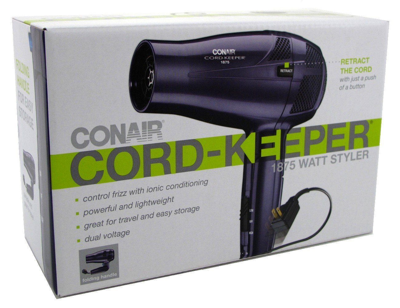 amazon com conair 1875 watt ionic conditioning cord keeper amazon com conair 1875 watt ionic conditioning cord keeper styler hair dryer folding handle blue beauty