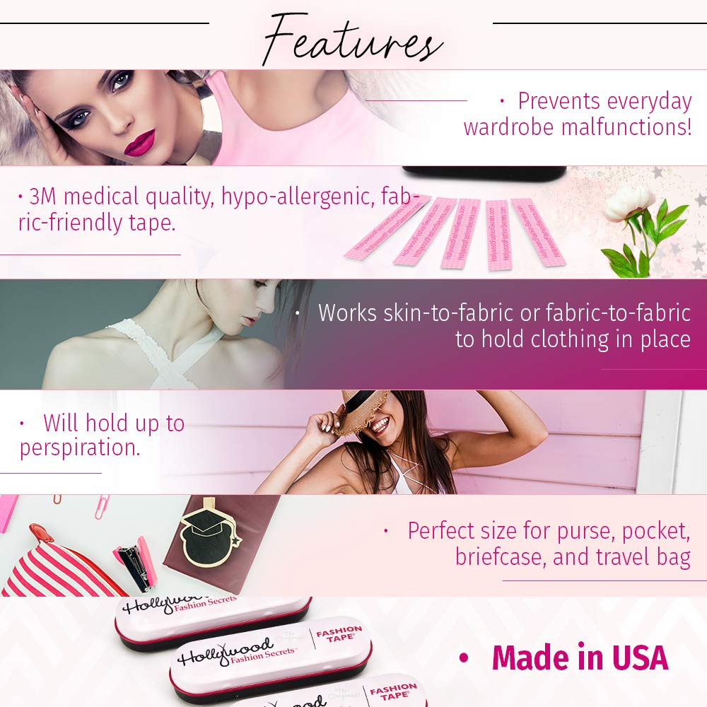 3 tins x 36 strips Value Pack Hollywood Fashion Secrets Medical Quality Double-Stick Apparel Tape