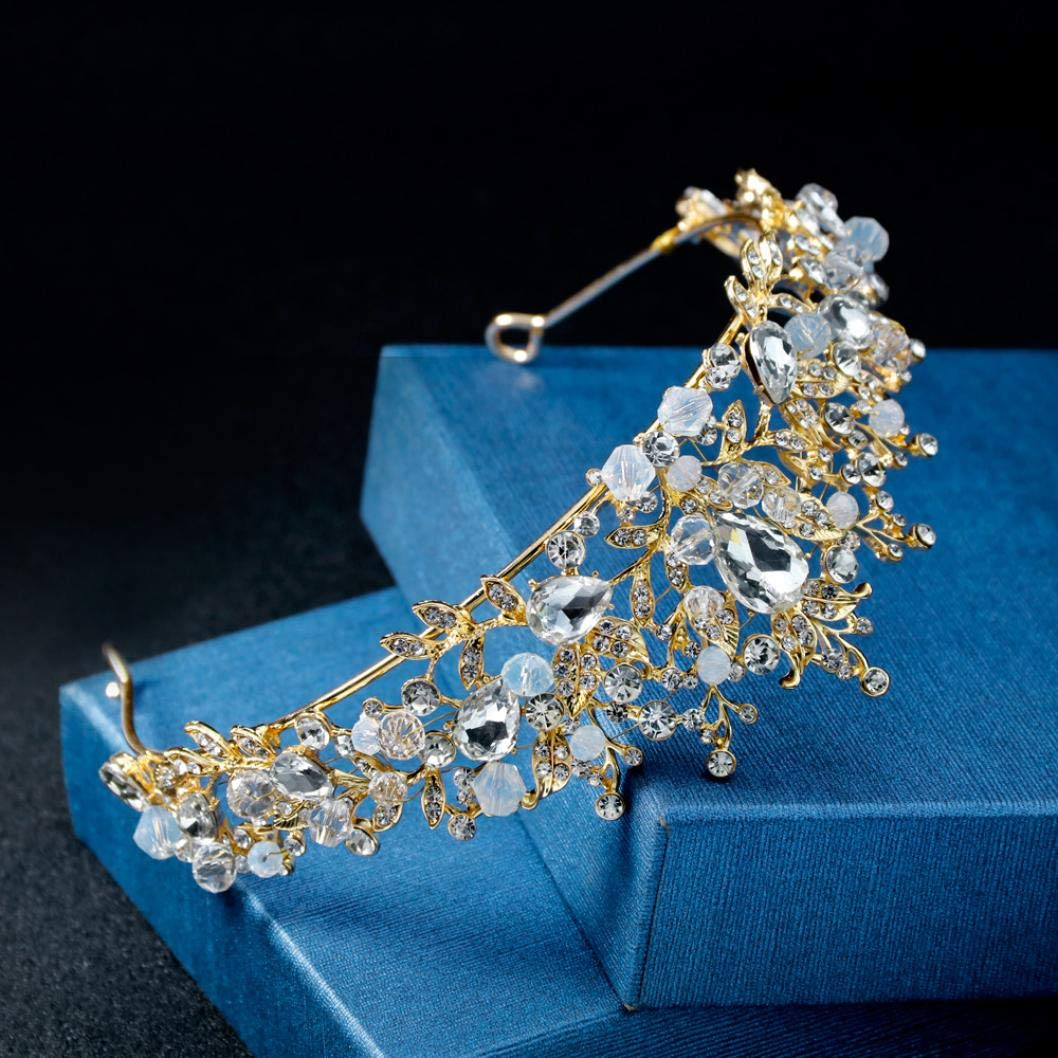 Gaddrt Women Wedding Headwear Crystal Frontlet Tiara Pearl Jewelry Shiny Bridal Crown Tiara Hair Jewelry Accessoies