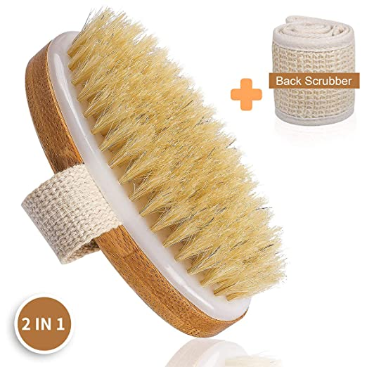 Bath Body Brush Shower Back Scrubber - 100% Nature Boar Bristles Scrub Brushes and Cotton Linen Exfoliating Body Scrubbers for Dry Skin - Deep Clean Cellulite Treatment Increase Circulation best shower brushes
