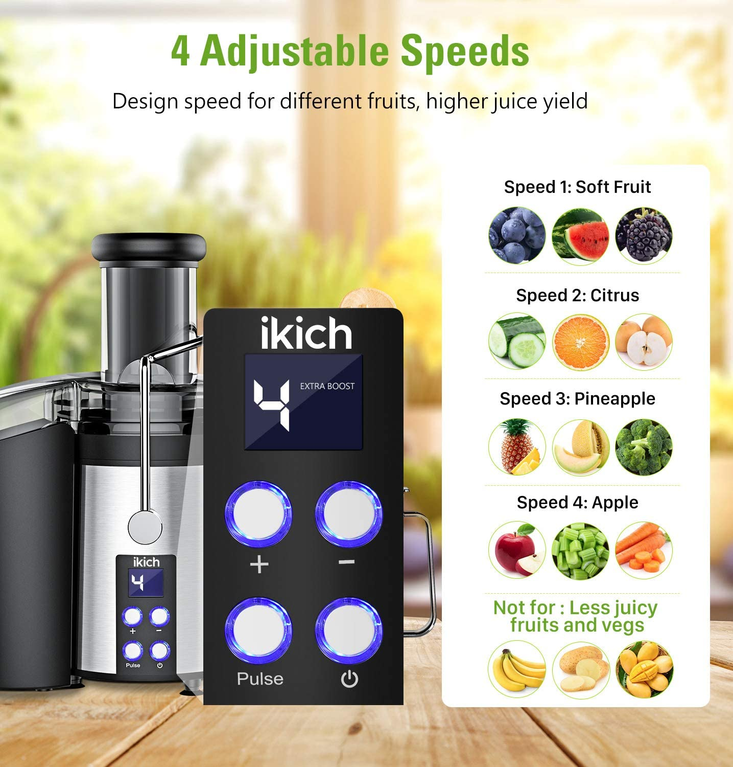 IKICH Centrifugal Juicer 2019 Upgrade 4 Speed Juice Extractor Creates More Juice and High Nutrient, Digital Display Real 3 Feeder Chute Juicer Machine with 16oz Portable Bottle and Recipes