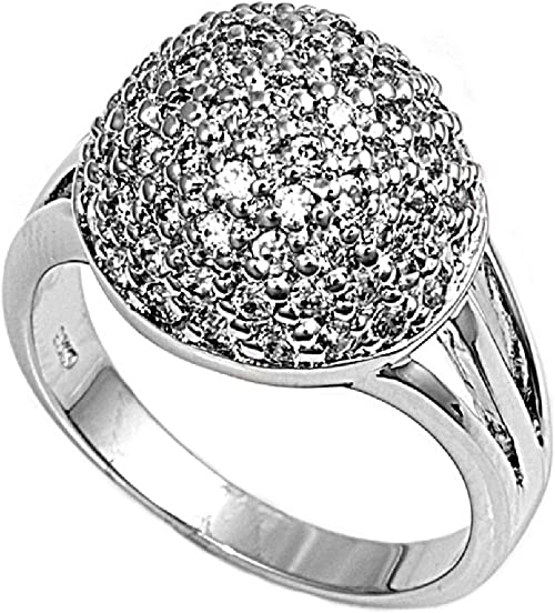 Womens 925 Sterling Silver Cubic Zirconia Pave Ball Ring