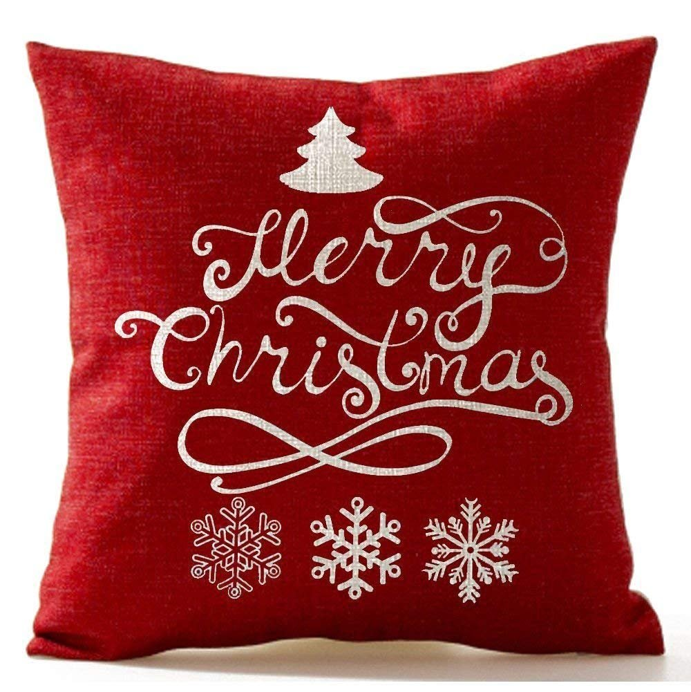 Christmas Pine Tree Snowflake Merry Christmas In Red Flax Throw Pillow Case Cushion Cover Home Office Living Room Decorative Square 18 X 18 Inch Christmas Gifts; White+ Red Lepilo