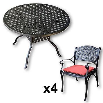 Amazon De Lazy Susan Lisa 106 Cm Runder Gartentisch Mit 4 Stuhlen