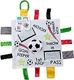 "Baby Sensory, Educational & Teething Closed Ribbon Tag Lovey Blanket with Security Plush: 10""X10"" (Soccer Futbol)"