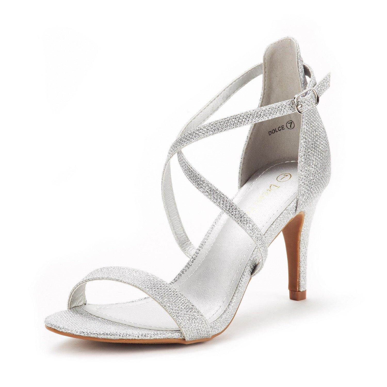 DREAM PAIRS Women's Dolce Silver Glitter Fashion Stilettos Open Toe Pump Heel Sandals Size 8.5 B(M) US