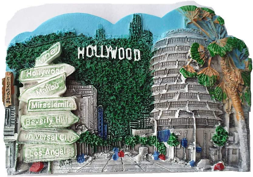 Hollywood Los Angeles USA 3D Fridge Magnet Travel Souvenir Gift Refrigerator Magnet,Home & Kitchen Decoration Magnetic Sticker Hollywood America Refrigerator Magnet