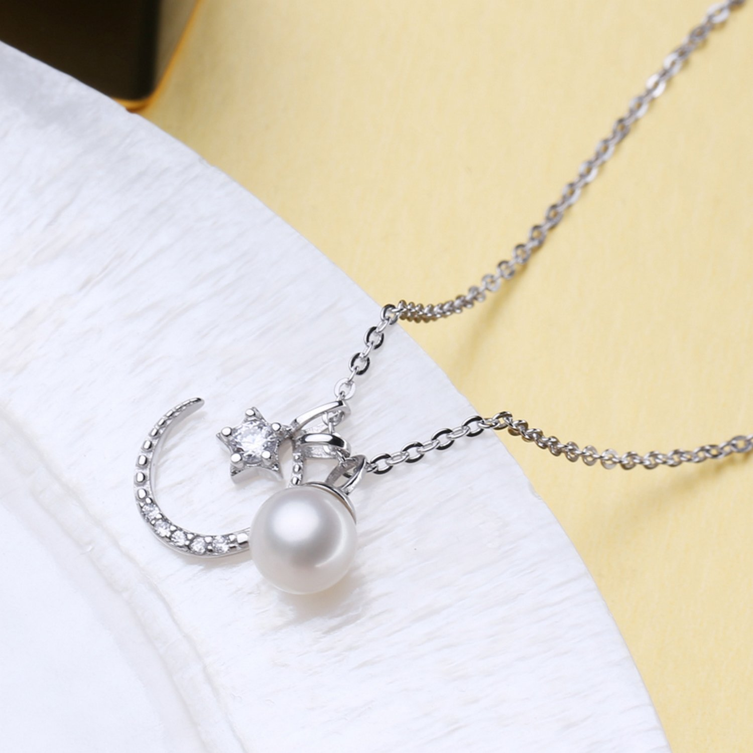 CS-DB Jewelry Silver Star Moon Pearl Chain Charm Pendants Necklaces