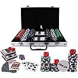 Doublefan Poker Chips Set, Poker Chips Set Texas Holdem Blackjack Gambling Chips Aluminum Case