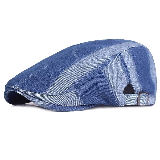 0537d04c20e Blue Denim Beret Hats for Men Outdoor Casual Berets Caps