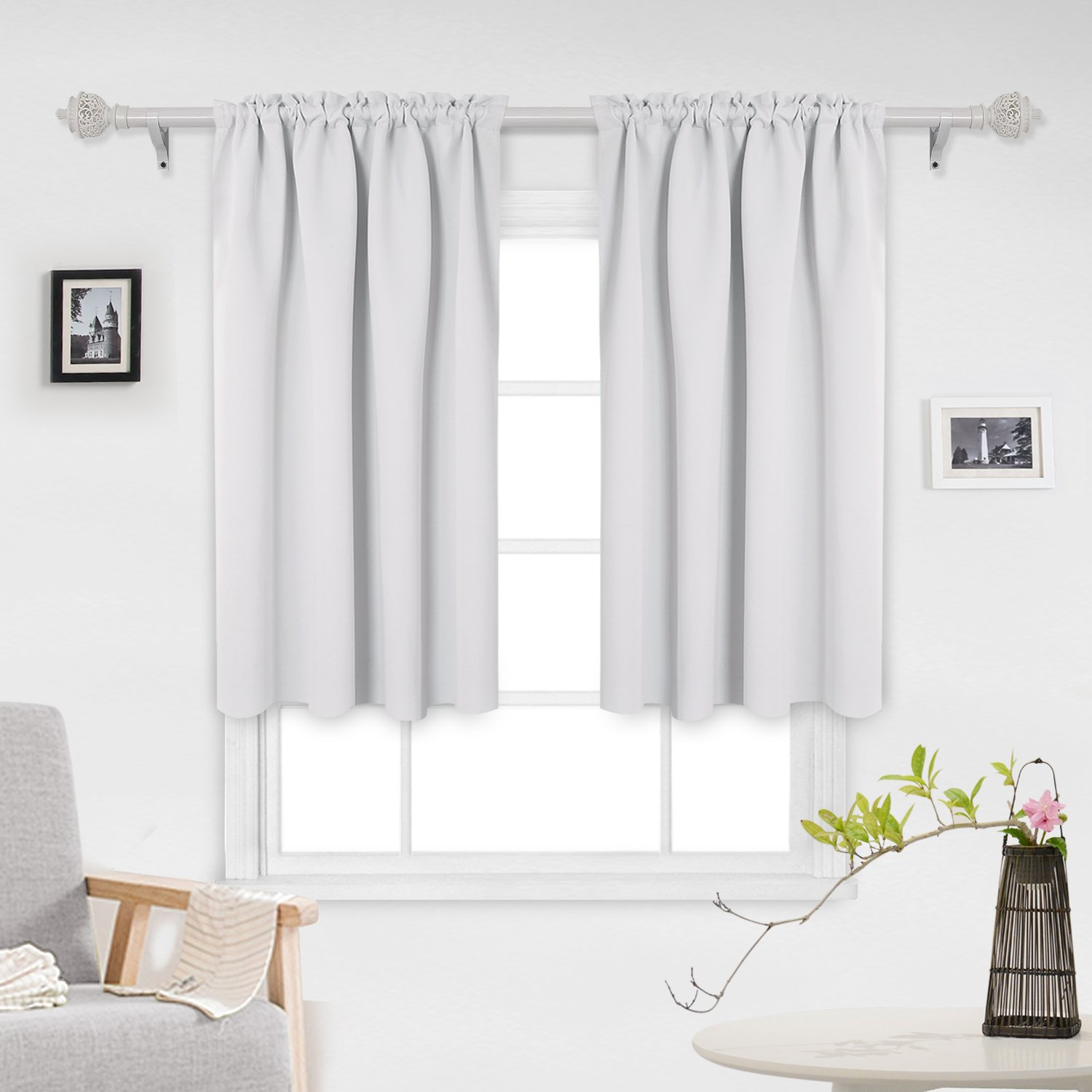 Deconovo Solid Color Light Blocking Curtains Rod Pocket Panels Thermal Insulated Blackout Curtains for Living Room 52W x 45L Inch Greyish White 1 Pair