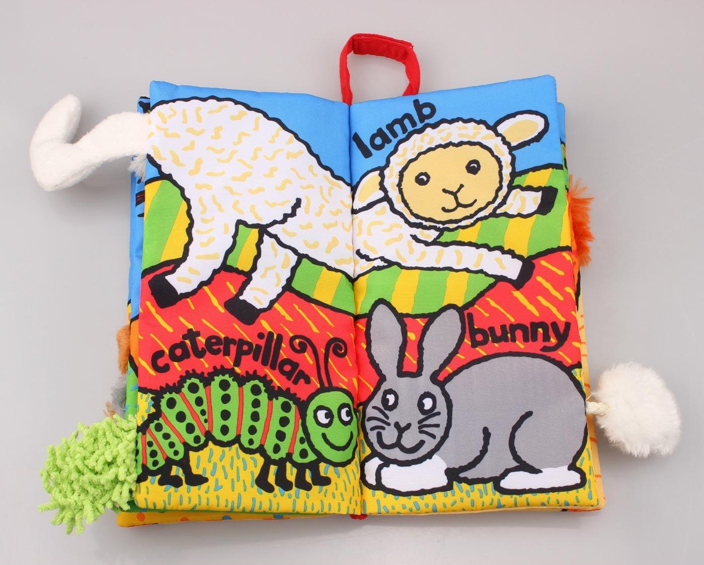 5 Juguete Libro Blando para Beb/és de Actividad Educativo Peluche Infantil Multifuncional Libro de Pa/ño Animal Jollybaby