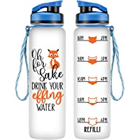 LEADO 32oz 1Liter Motivational Tracking Water Bottle w/Time Marker - for Fox Sake Drink Your Effing Water - Funny Fathers Day Gifts, Dad Gifts - Gifts for Men, Women, Mom, Wife, Husband, Best Friend