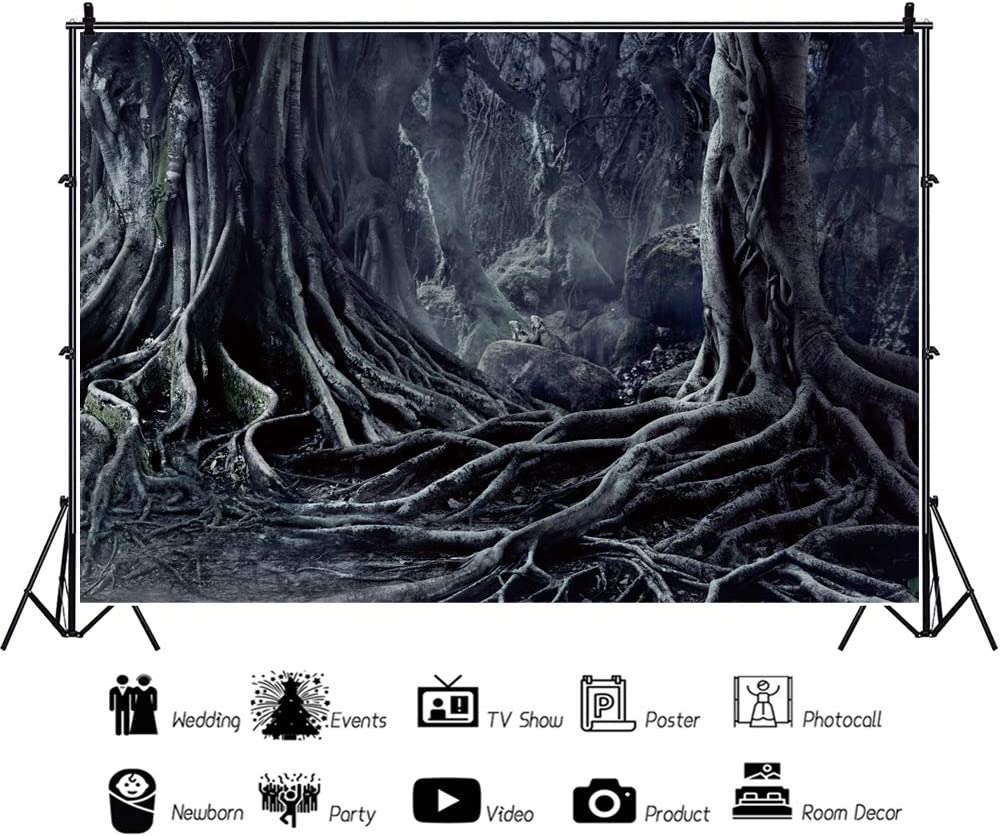 Yeele Halloween Forest Backdrop 10x8ft Magic Trees Terror Photography Background Room Decor Adults Portrait Halloween Eve Party Decoration Gloomy Photo Booth Studio Props