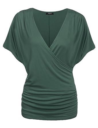 Zeagoo Damen V-Ausschnitt T-Shirt Kurzarm Batwing Fledermaus Sommer Shirt  Tunika Bluse  Amazon.de  Bekleidung 9f5e44b141
